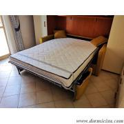 divano letto su misura con bracciolo piu' stretto e con letto largo 140 cm aperto
