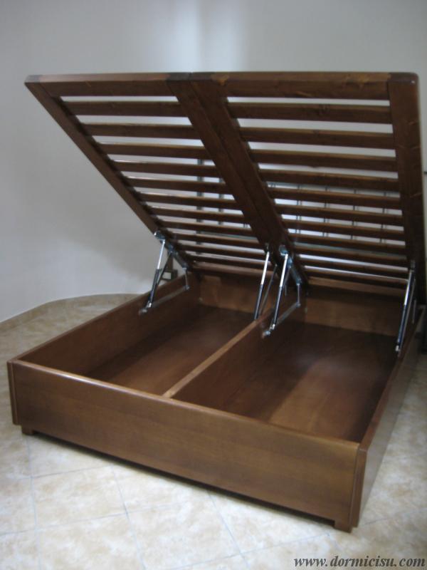 Letto contenitore in legno massello reti singole - Rete letto legno ...