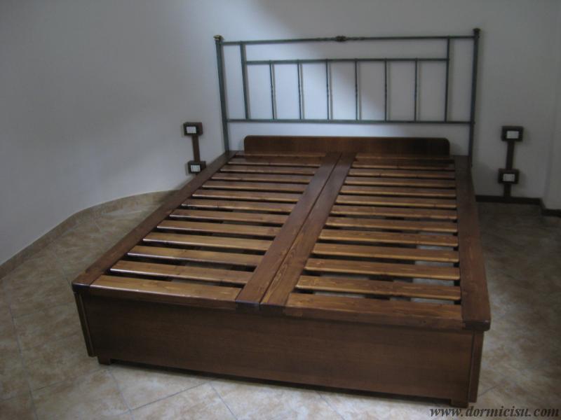 Letto contenitore in legno massello reti singole - Divano letto doghe in legno ...