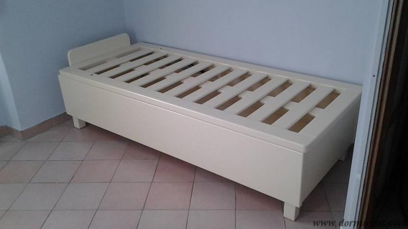 Letto contenitore in legno massello rinforzato   dormicisu.com