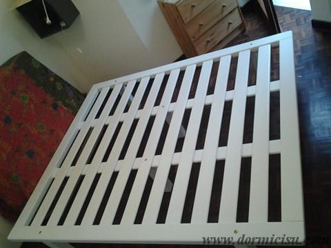 Panoramica della rete tutto legno 6 piedi.Colore Bianco.Finitura Lucida.
