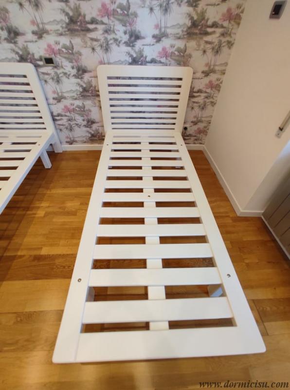 Panoramica della rete tutto legno 5 piedi.Colore Bianco.Finitura Lucida.